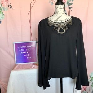Liberty Love Embroidered Sheer Black Top